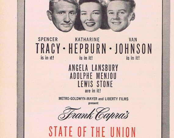 State of the Union 1948 Original Vintage Movie Ad with Spencer Tracy, Katharine Hepburn or Mutual Life of New York Insurance
