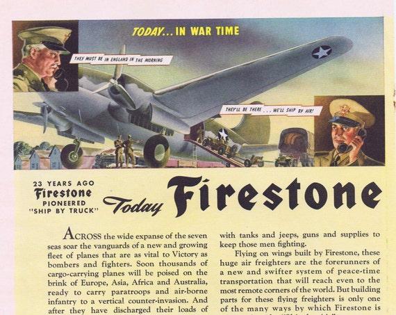 1942 Firestone Tires WWII Original Vintage Advertisement in War Time