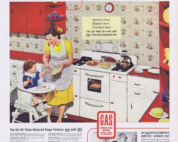 1939 Gas Kitchen Appliances Original Vintage Advertisement with Nice Kitchen Photo