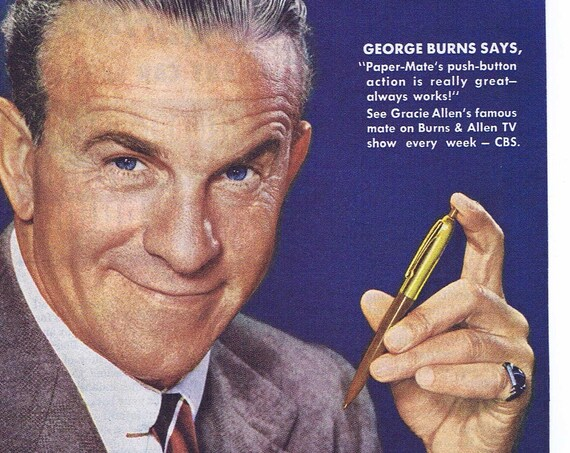 1953 Paper-Mate Ink Pen and George Burns Original Vintage Advertisement
