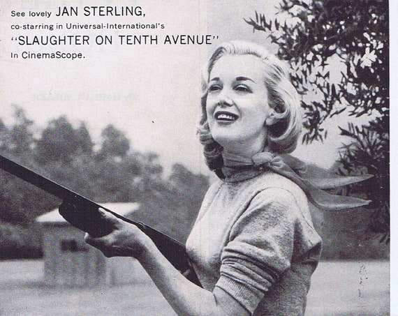 Beautiful Jan Sterling 1957 Super-Soft Lustre-Net Hair Spray Original Vintage Advertisement
