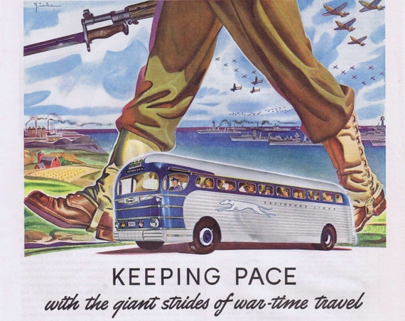 1942 Greyhound Bus WWII  Wartime Original Vintage Advertisement with War-Time Tips