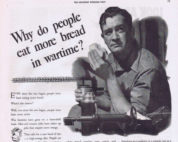 1942 Bread is Basic WW2 Original Vintage Advertisement with War Factory Worker