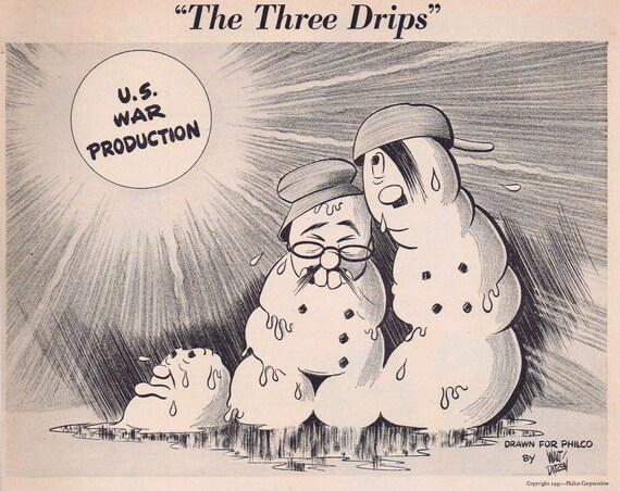 1943 The Three Drips Philco Unusual WW2 Original Vintage Ad by Walt Ditzen art showing Hitler, Mussolini and Hirohito. Rare! Must See!