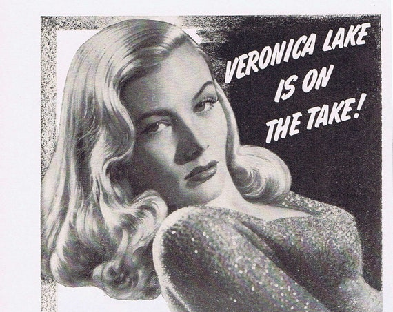 Sultry Veronica Lake and Sullivan's Travel 1942 Original Vintage Paramount Star Parade Ad