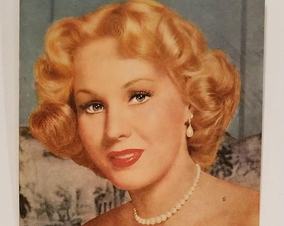 """Virginia Mayo 1952 Lustre-Crème Shampoo Original Vintage Ad starring in """"She's Working Her Way Through College"""" film"""