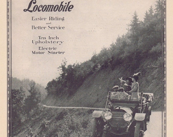 Locomobile Touring Car 1913 Countryside Original Advertisement and Great Old Time Photo