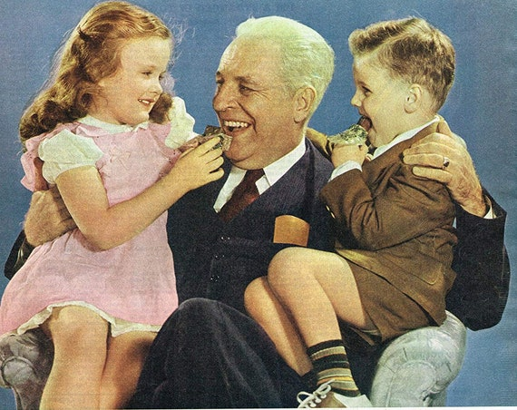 Grandfather and Grandchildren in Milky Way Chocolate Carmel Candy Bar 1946 Old Advertisement Take a Look