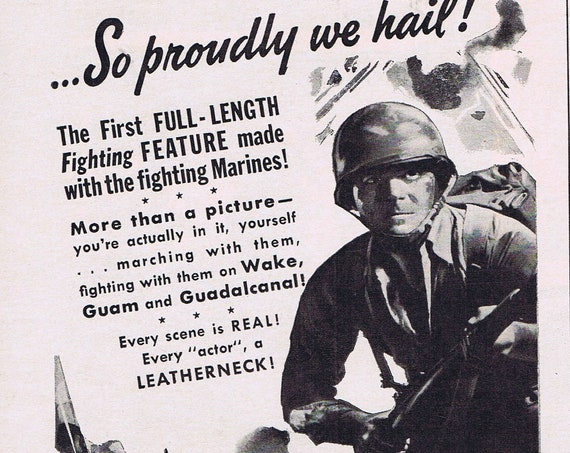 We Are the Marines 1943 Vintage Movie Ad by the March of Time and Louis de Rochemont