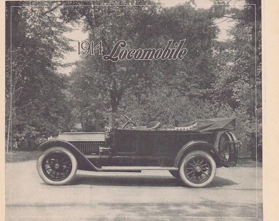 1914 Locomobile Left Drive Little Six Car Original Advertisement with Nice Side View