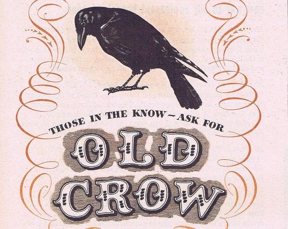 1946 Old Crow Kentucky Whiskey or Air-Wick Room Deodorizer Original Vintage Advertisement