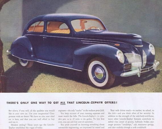 1939 Lincoln-Zephyr V-12 Automobile Original Vintage Advertisement Beautiful Old Blue Car