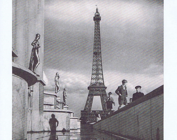 Statues and Children by the Eiffel Tower in Paris after the Second World War Vintage Magazine Photo