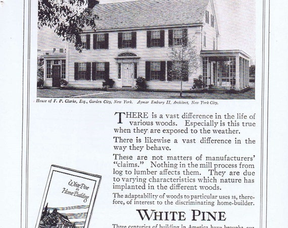 1919 White Pine Wood Original Vintage Advertisement with Home of F. P. Clarke of Garden City New York