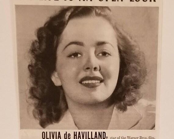 "Olivia de Havilland 1941 Calox Tooth Powder Original Vintage Ad Starring in ""Strawberry Blonde"" film"