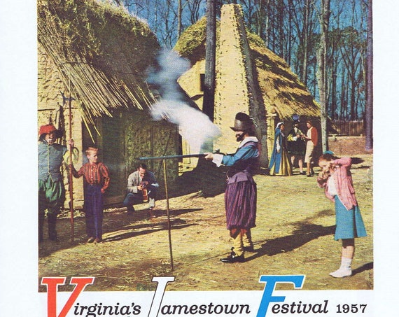 Virginia's Jamestown Festival 1957 Original Vintage Ad the First America