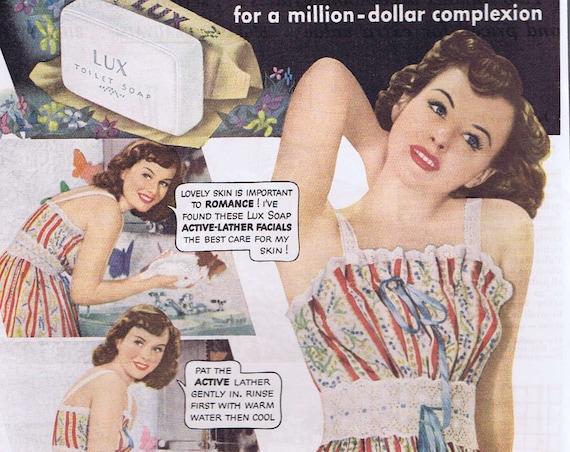 1941 Beautiful Paulette Goddard Lux Toilet Soap Original Vintage Ad Starring in Slattery's Hurricane