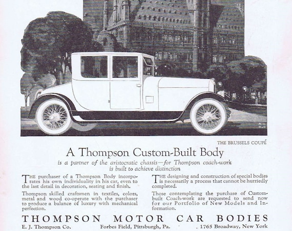 Old Brussels Couple 1919 Thompson Car Body and Old Dutch Cleaner Advertisements