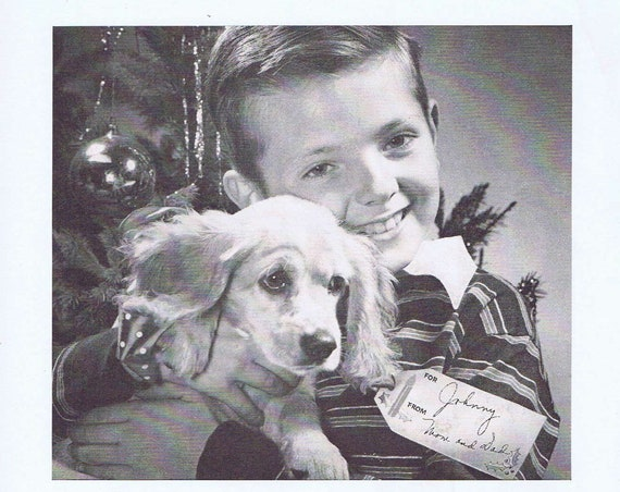 1946 Bell & Howell Movie Camera with Wonderful Photo of Boy and Puppy or Hamilton Watches Christmas Gift Original Vintage Advertisement