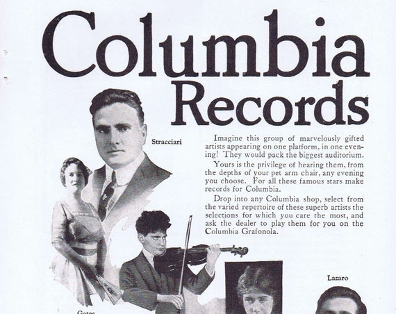 1919 Columbia Records Original Vintage Advertisement with Famous Musicians Pictures