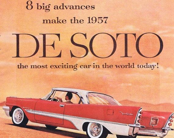 1957 Beautiful Chrysler De Soto Original Vintage Automobile Advertisement Great View of Car