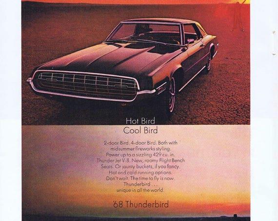 1968 Ford Thunderbird Hot Bird Cool Bird Automobile Original Vintage Advertisement
