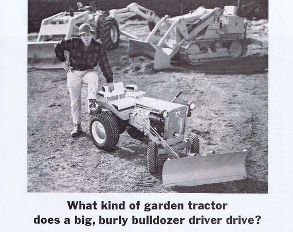 1967 Allis-Chalmers Lawn and Garden Tractors Original Vintage Advertisement with Neat Picture of Lawn Tractor and Bulldozers