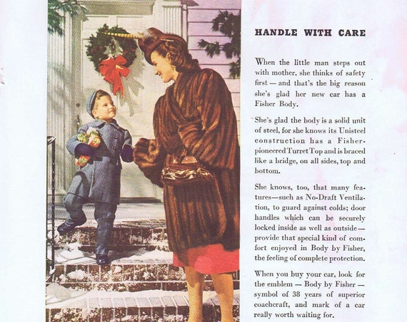 1946 Car Body by Fisher and 1946 Original Vintage Christmas Advertisement with Mother and Son
