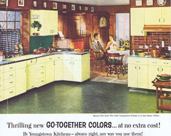 Superieur 1955 Youngstown Steel Kitchen Cabinets Original Vintage Ad In Dawn Yellow  Color