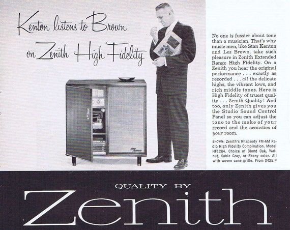 1957 Zenith Record Players with Stan Kenton and Les Brown Original Vintage Advertisement