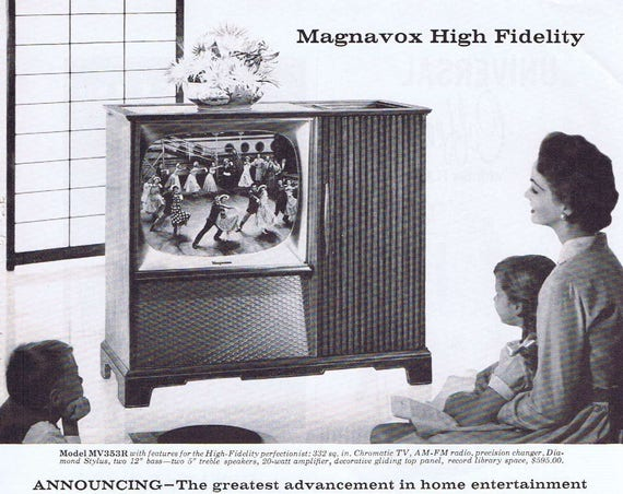 1957 Magnavox High Fidelity Television Original Vintage Advertisement