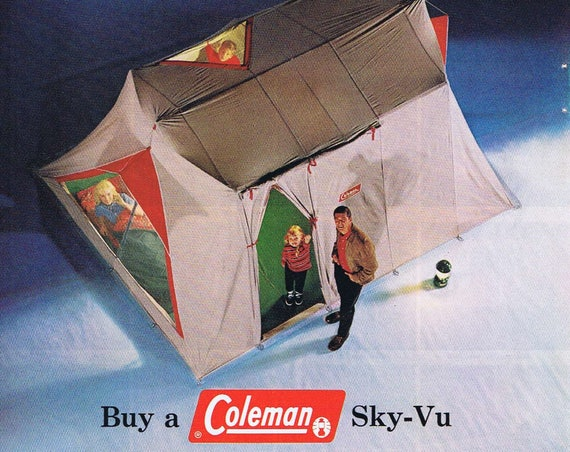 1957 Coleman Sky-Vu Camping Tent or Southern California Travel Original Vintage Advertisement