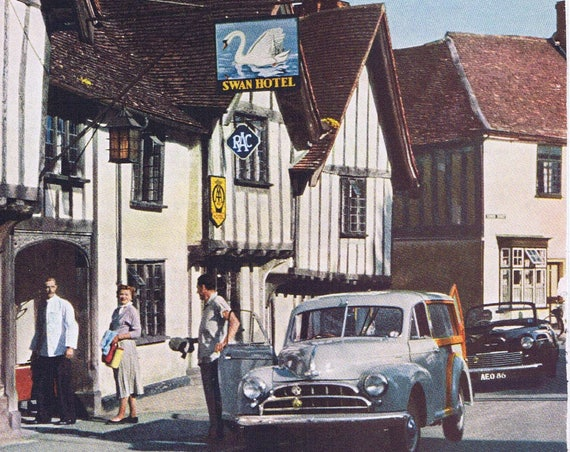 1957 Swan at Lavenham Inn Hotel Original Vintage Advertisement British Travel Agency