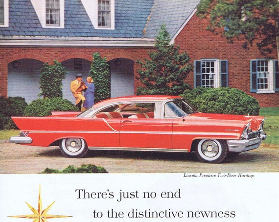 1957 Beautiful Red Lincoln Premiere Two-Door Hardtop Original Automobile Vintage Advertisement Long and Lovely Car
