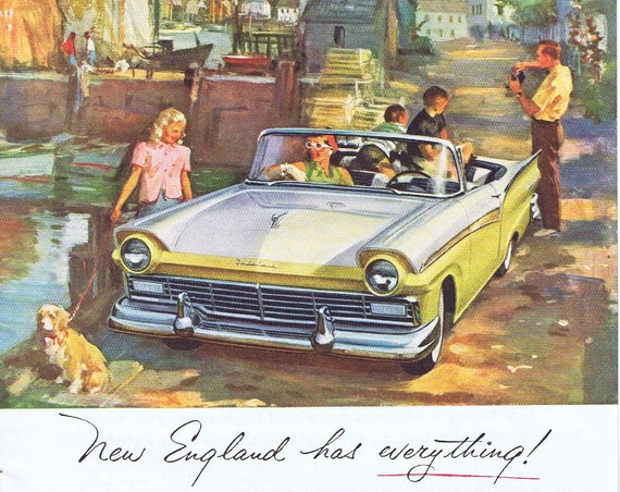 1957 Ford Fairlane Convertible in New England Original Vintage Automobile Ad