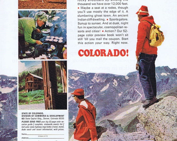 1967 Colorado State Travel Original Vintage Advertisement with Pictures