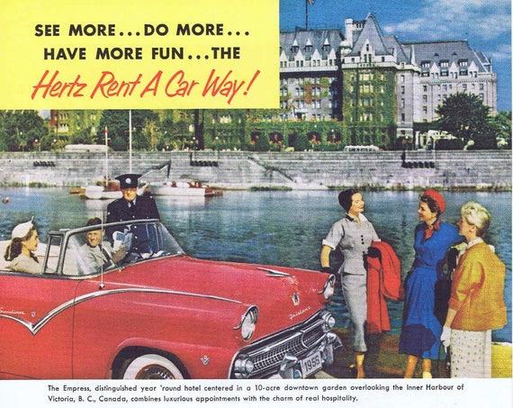 1955 Hertz Rental Car Original Vintage Ad at Empress Hotel in British Columbia, Canada