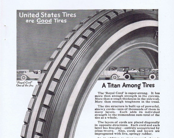 1919 United States Tires or Rock of Ages Tombstone Original Advertisement