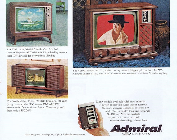 1968 Admiral AFC Televisions Original Vintage Advertisement