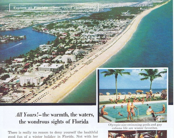 1957 Florida Land of Good Living Vacation Original Vintage Advertisement by State of Florida
