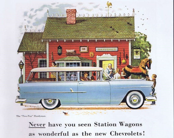 1955 Chevrolet Station Wagon Automobile Original Vintage Advertisement with the Turbo-Fire V8