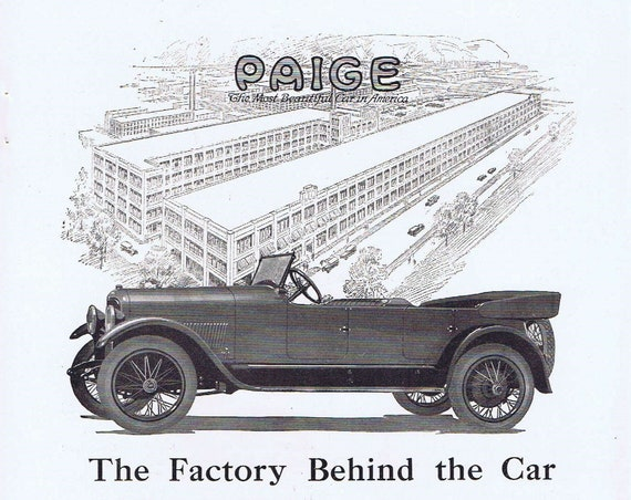 Paige Detroit Car 1919 Original Advertisement and Factory Behind the Car