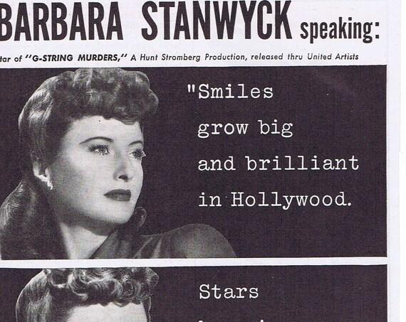 1943 Barbara Stanwyck Calox Tooth Powder Original Vintage Advertisement