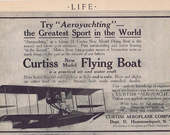 1913 Curtiss Flying Boat and Lessons in Flying Original Vintage Advertisement Unique 100+ Year Old Item