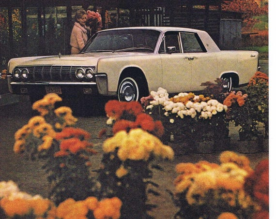 1964 Lincoln Continental Automobile Original Vintage Advertisement Nice Scene with Flowers