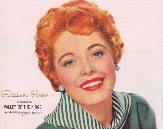 "Eleanor Parker 1954 Lustre-Crème Shampoo Original Vintage Advertisement Starring in ""Valley of the Kings"" film"