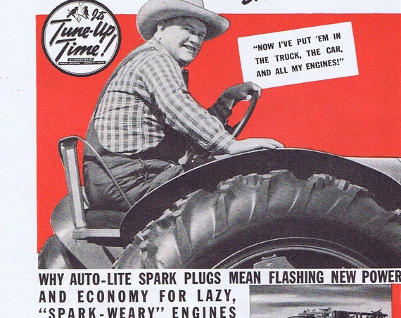 Farmer on a Tractor 1940 Auto-Lite Spark Plugs Original Vintage Advertisement