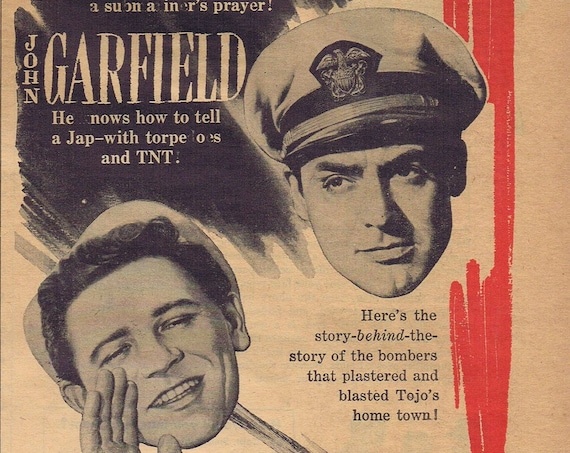 World War Two 1943 Cary Grant Vintage Movie Ad Free Shipping