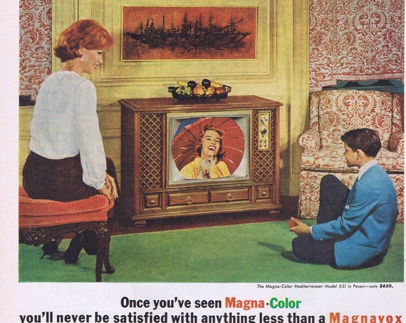 Family Watching TV 1965 Magnavox Old Ad