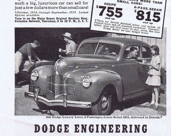 1940 Dodge Luxury Liner Sedan Original Vintage Advertisement